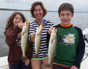 Amy, Noah and Caught beautiful Spotted sea Trout together!